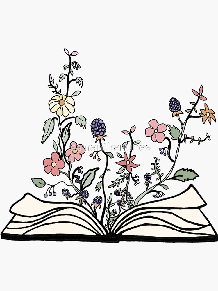 book of / with flowers sticker by samanthanunes