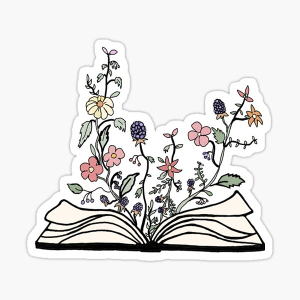 book of / with flowers sticker Sticker
