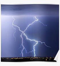 X Lightning Bolt in the Sky Poster