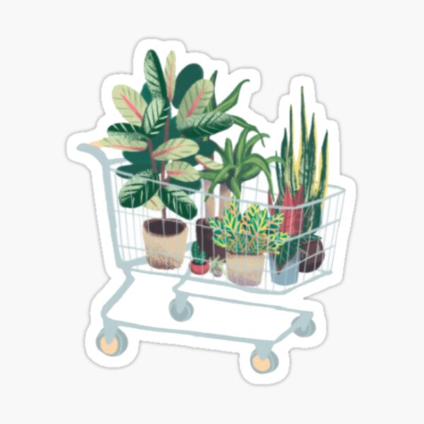 Plant in shopping cart Glossy Sticker