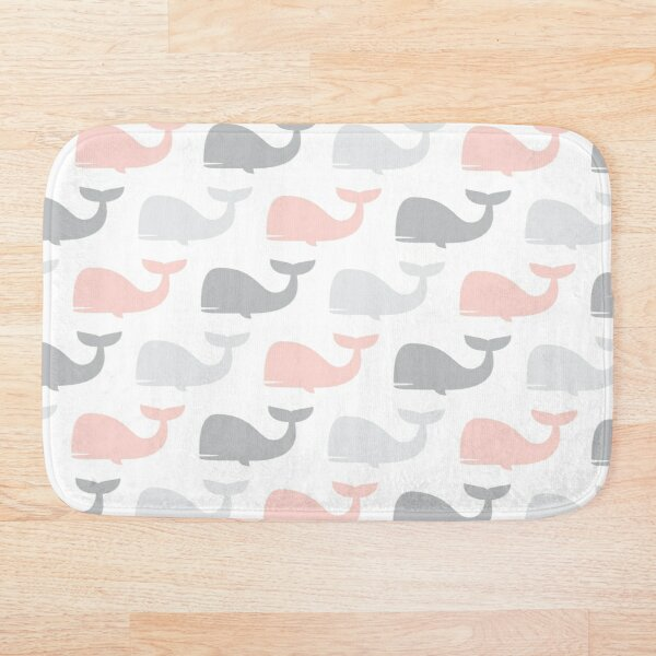 whales - nautical - pink and grey Bath Mat