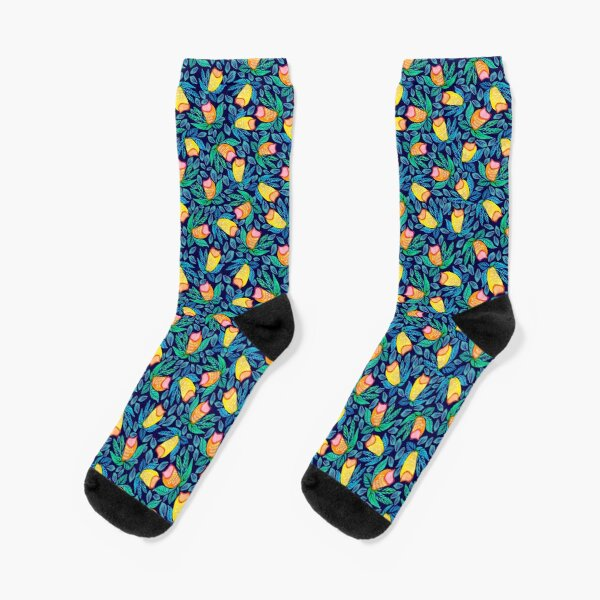 Watercolor Floral and Leafy pattern Socks