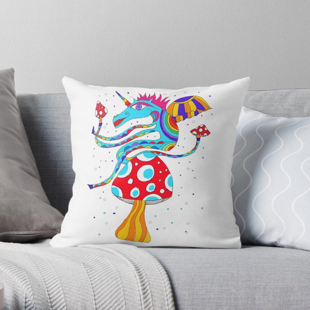 Psychedelic Unicorn Throw Cushion in White  Throw Pillow