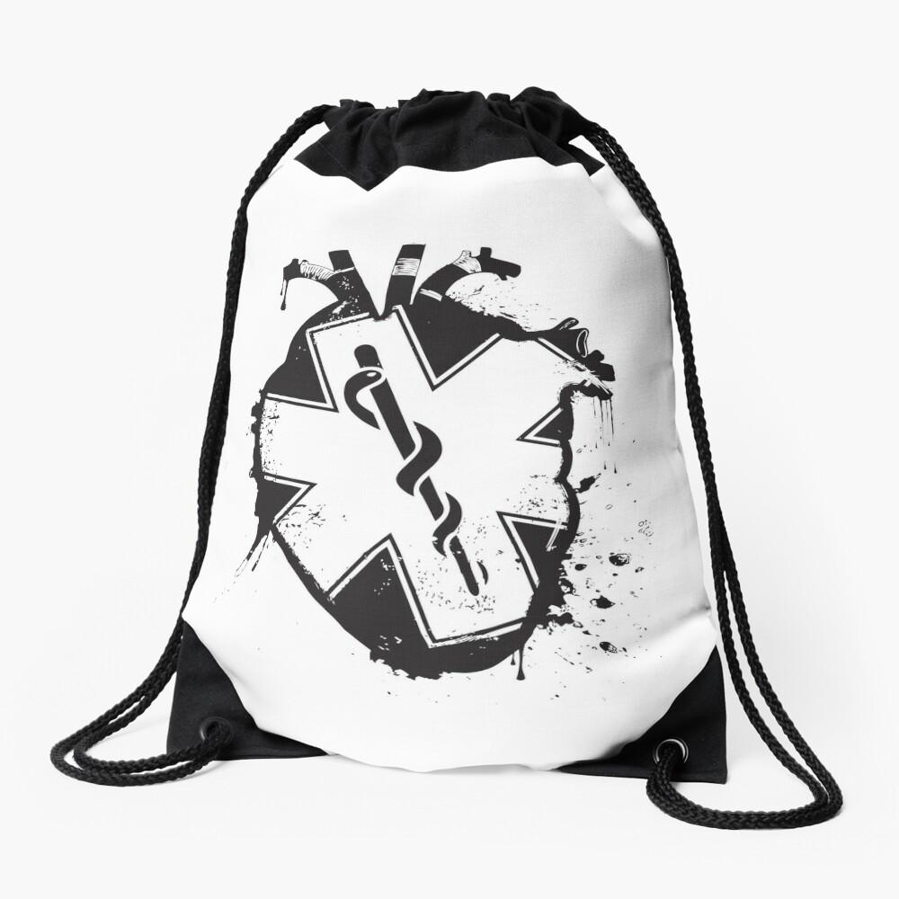 star of life anatomical heart Drawstring Bag
