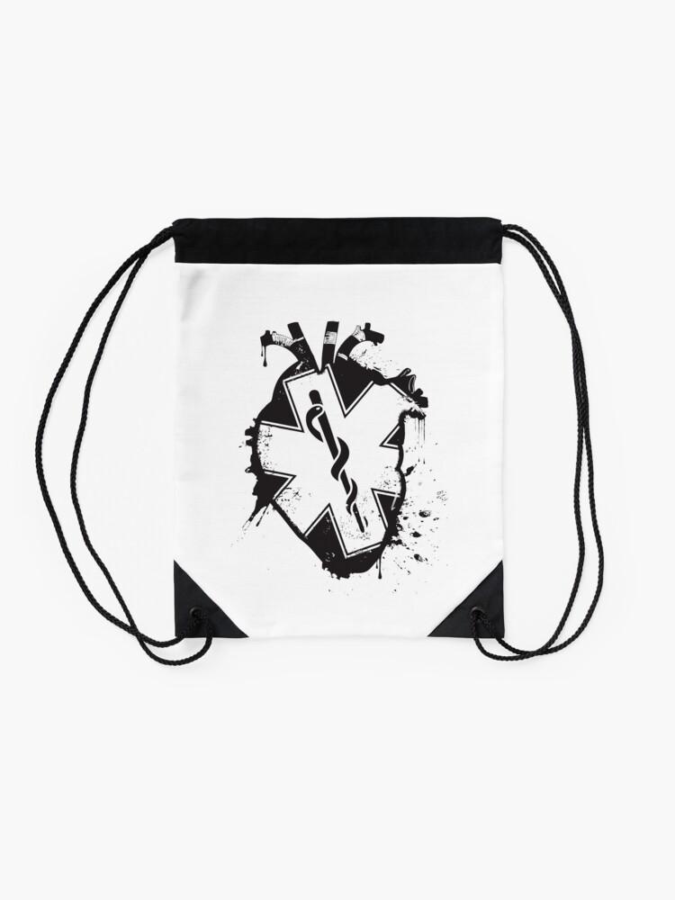 Alternate view of star of life anatomical heart Drawstring Bag