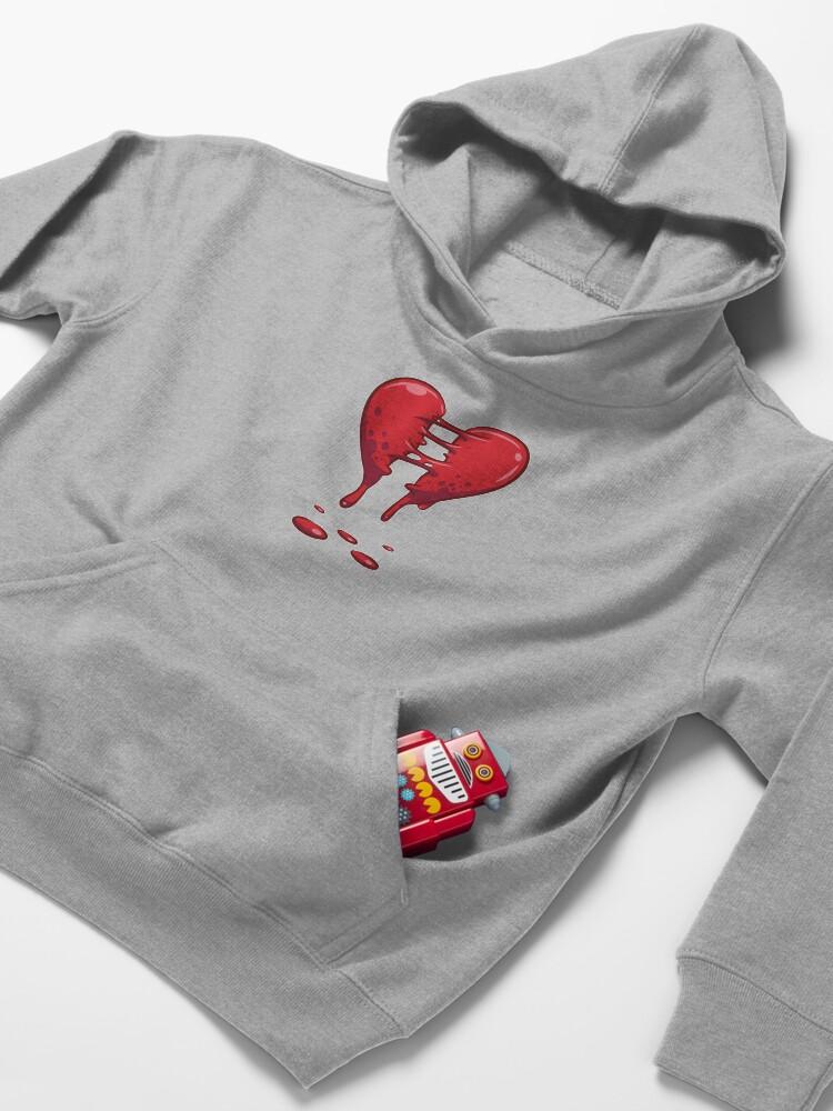 Alternate view of Dripping Broken Healing Heart Valentines Day Kids Pullover Hoodie