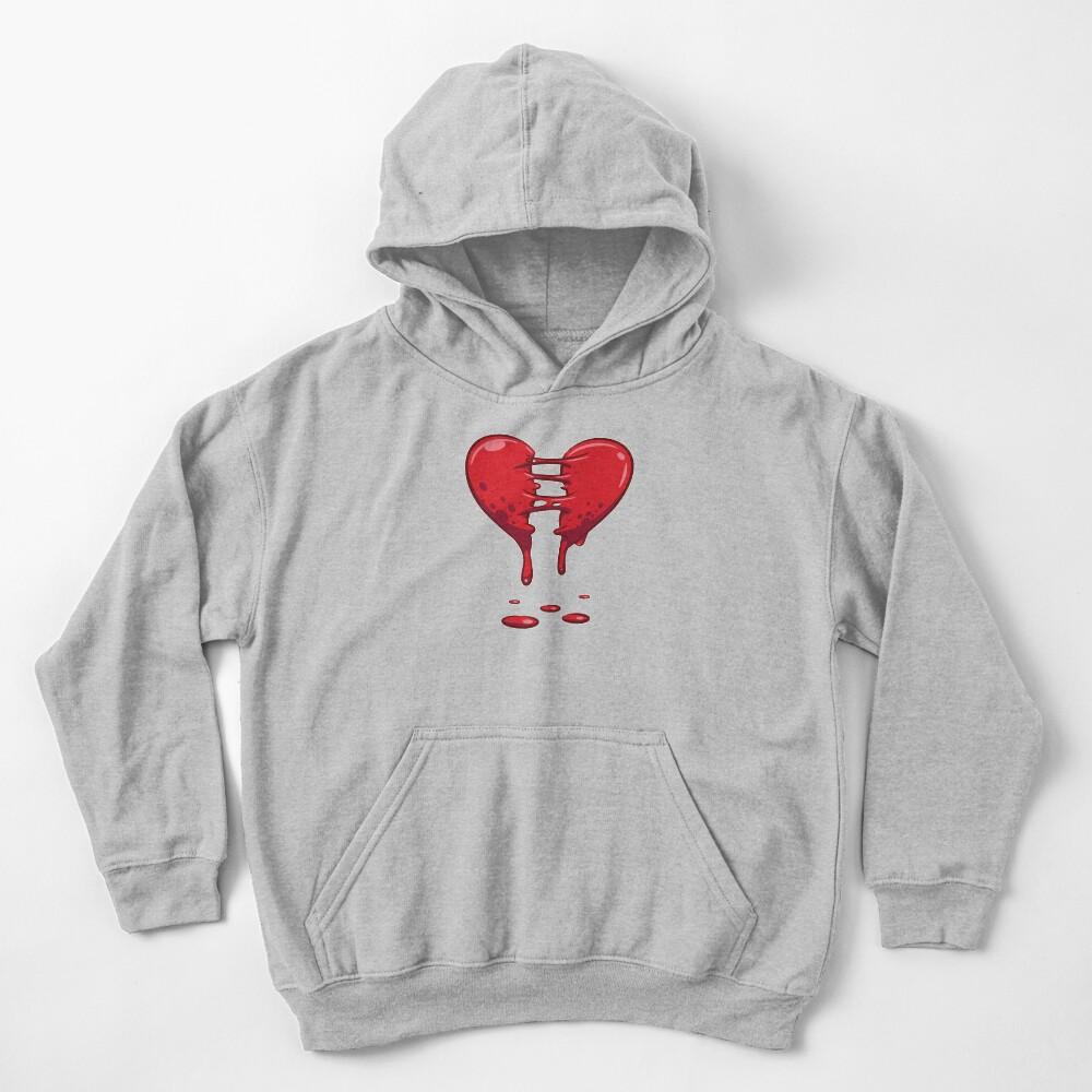 Dripping Broken Healing Heart Valentines Day Kids Pullover Hoodie