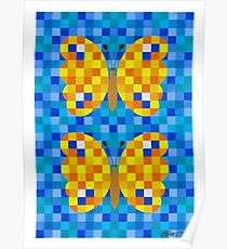532 Squares And 2 Butterflies - Brush And Gouache Poster