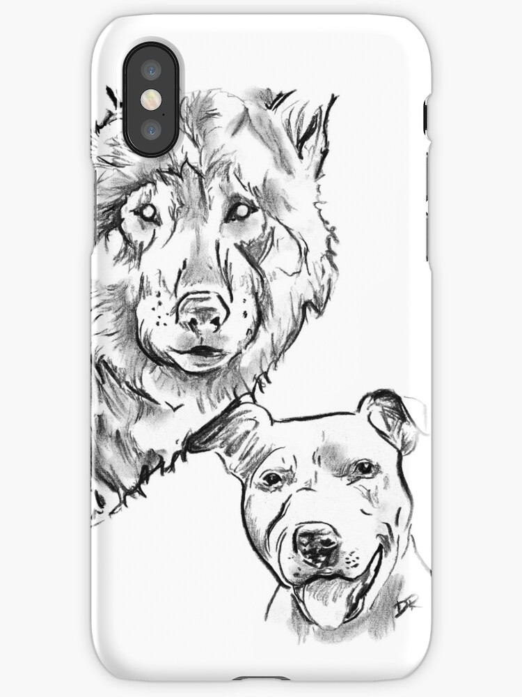 The Staffordshire Bull Terrier and the Wolf Drawing by Douglas Rickard
