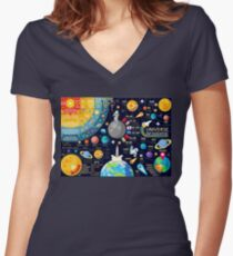 Universe Concepts Infographics Women's Fitted V-Neck T-Shirt