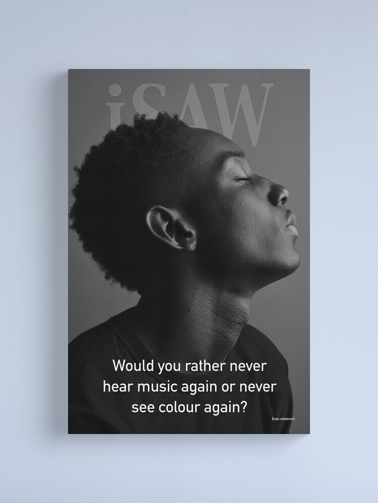 Alternate view of Would You Rather Never Hear Music Again or Never See Colour Again Canvas Print