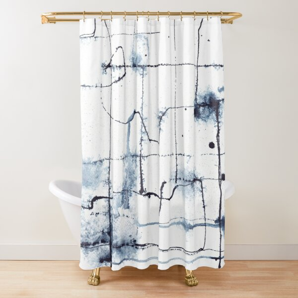 Indigo abstract line drawing faux shibori Shower Curtain