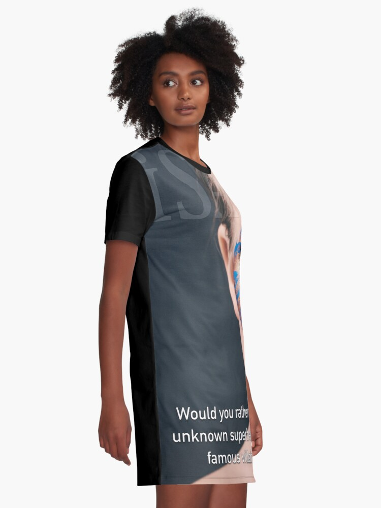 Alternate view of Would You Rather Be An Unknown Superhero or a Famous Villain Graphic T-Shirt Dress