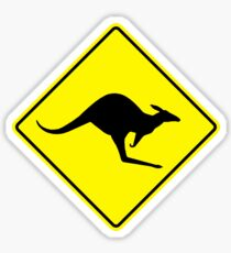Kangaroos Yellow Diamond Warning Road Sign Die Cut Sticker Sticker
