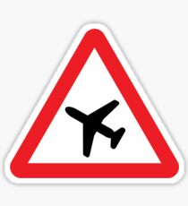 Low Flying Aircraft Warning Triangle Road Sign Sticker