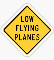 Low Flying Planes Yellow Diamond Warning Road Sign Sticker