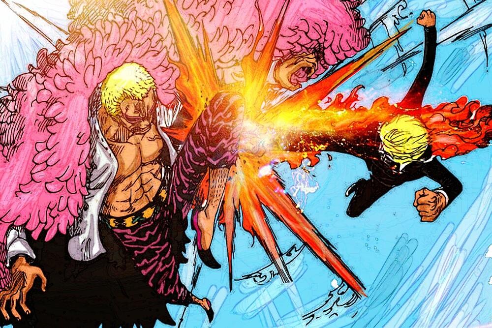 Sanji vs Doflamingo - One Piece by Xkaido
