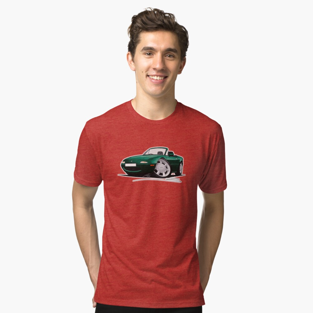 Mazda MX5 (Mk1) British Racing Green Tri-blend T-Shirt Front