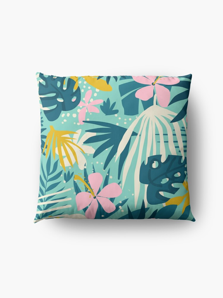 Alternate view of Not All Those Who Wander Are Lost #painting #tropical Floor Pillow