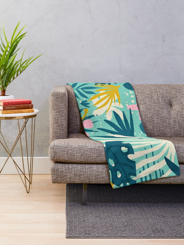 Alternate view of Not All Those Who Wander Are Lost #painting #tropical Throw Blanket