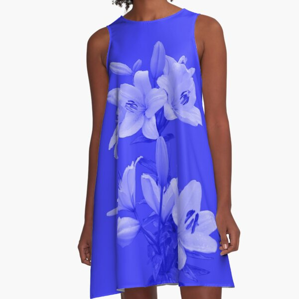 Lilies on Blue Background A-Line Dress