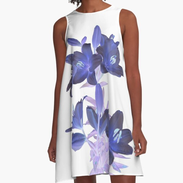 Lilies on a White Background A-Line Dress