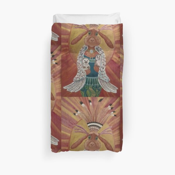 The Great Feathered Rabbit and Happy Hedgehogs Duvet Cover