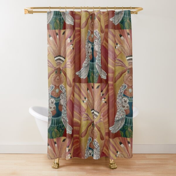 The Great Feathered Rabbit and Happy Hedgehogs Shower Curtain