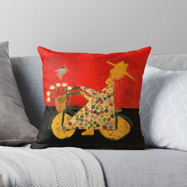 Bicycle Monk and Bluebird Throw Pillow