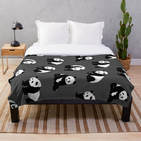 Pandas on Grey  Throw Blanket
