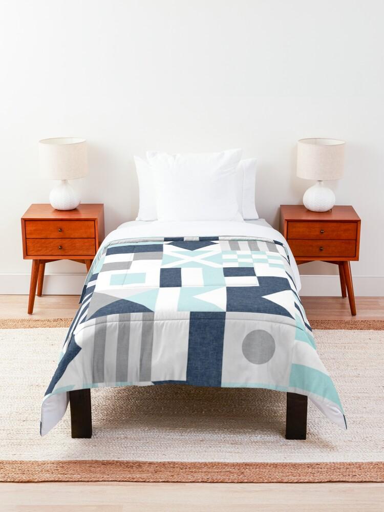 Alternate view of Nautical Flags - maritime blue Comforter