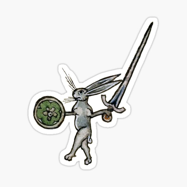 Sword & Buckler Bunny - Medieval Warrior Rabbit Sticker