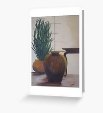 Clay Pots In The Window Greeting Card