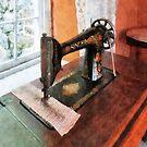 Sewing Machine Near Lace Curtain by Susan Savad