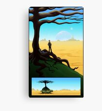 Crossing the Desert on a Giant Turtle Canvas Print