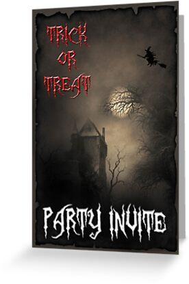 Trick or Treat Party Invite by GothCardz