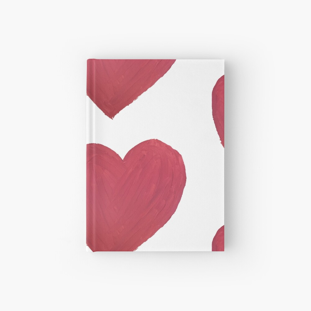 Hand Painted Red Valentine's Day Heart Hardcover Journal