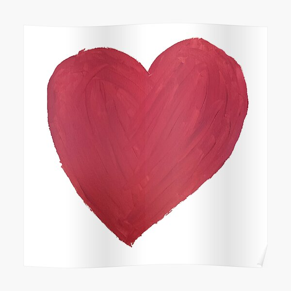 Hand Painted Red Valentine's Day Heart Poster