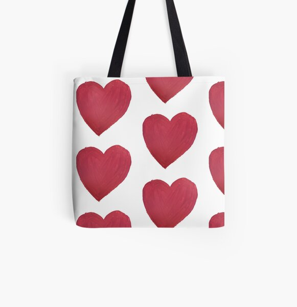 Hand Painted Red Valentine's Day Heart All Over Print Tote Bag