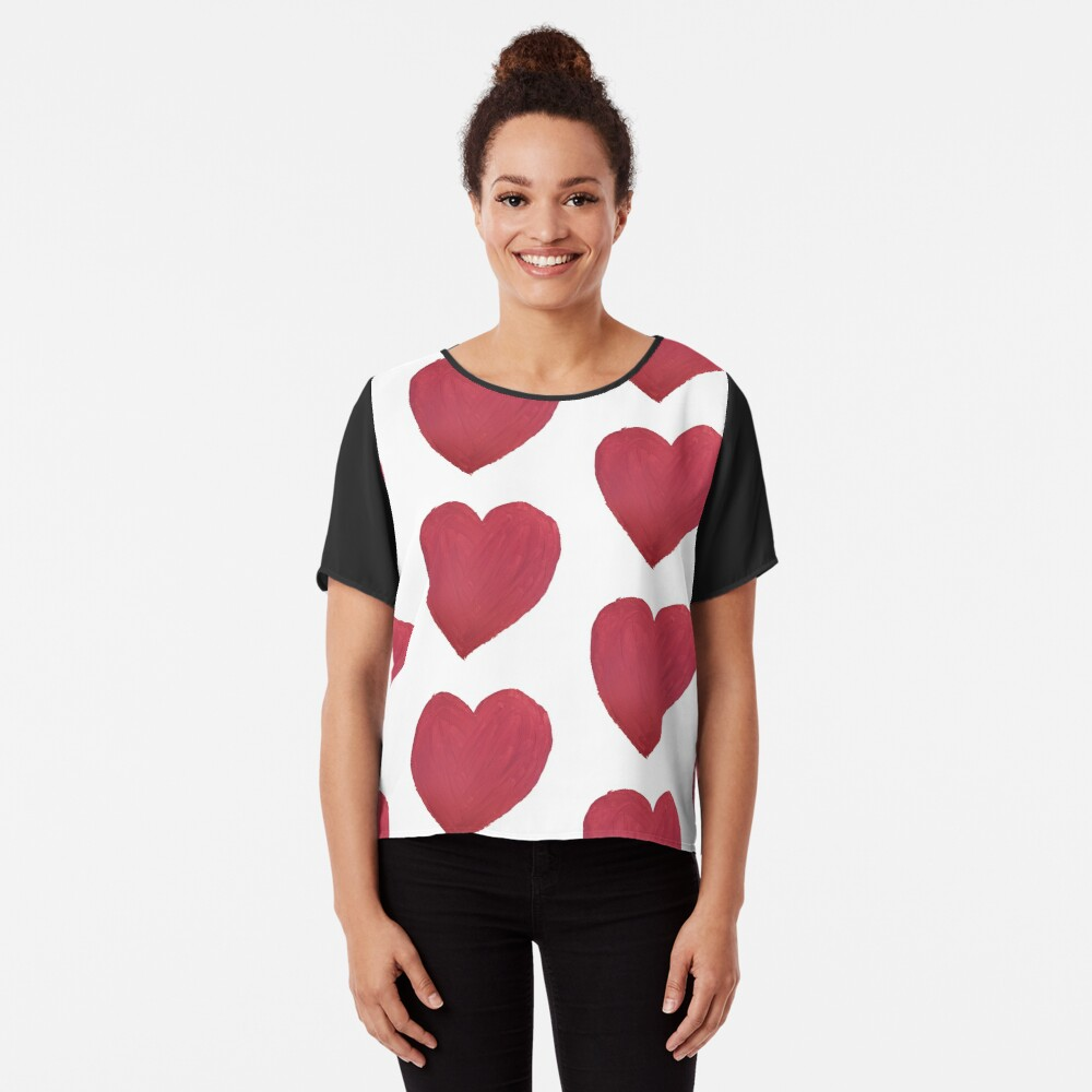 Hand Painted Red Valentine's Day Heart Chiffon Top
