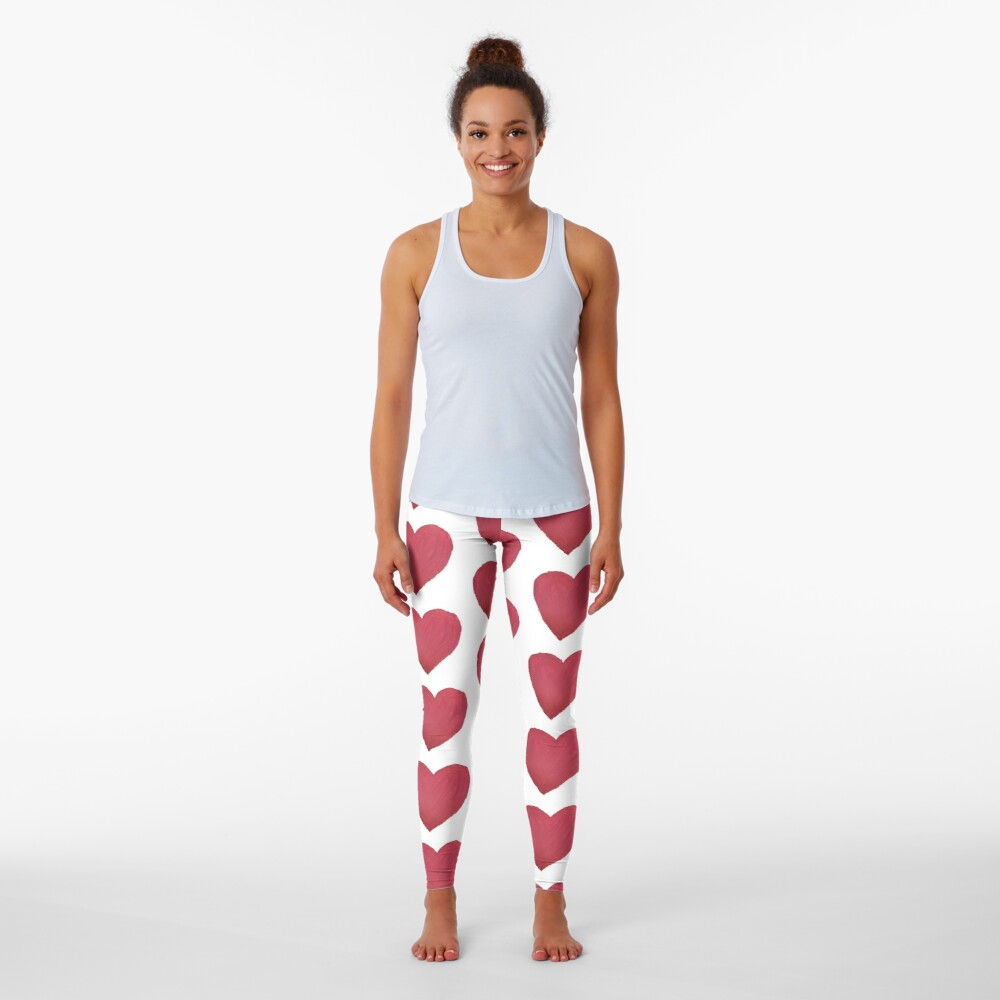 Hand Painted Red Valentine's Day Heart Leggings