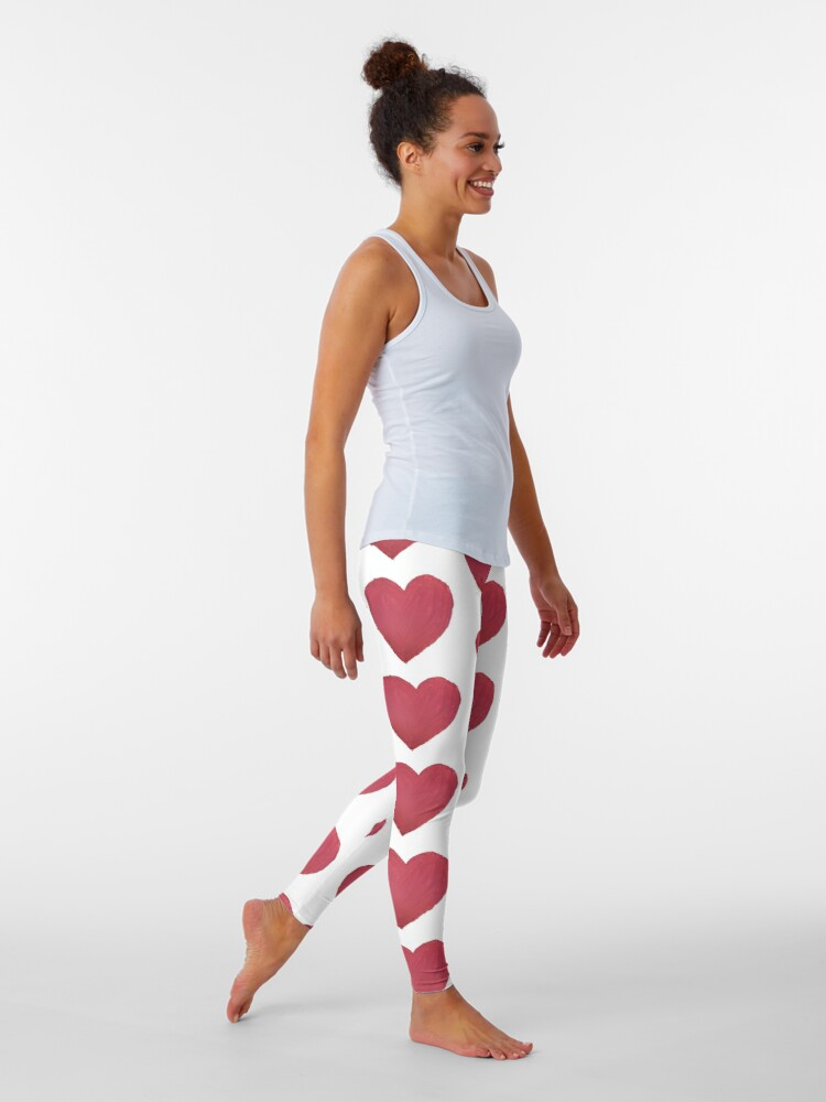Alternate view of Hand Painted Red Valentine's Day Heart Leggings