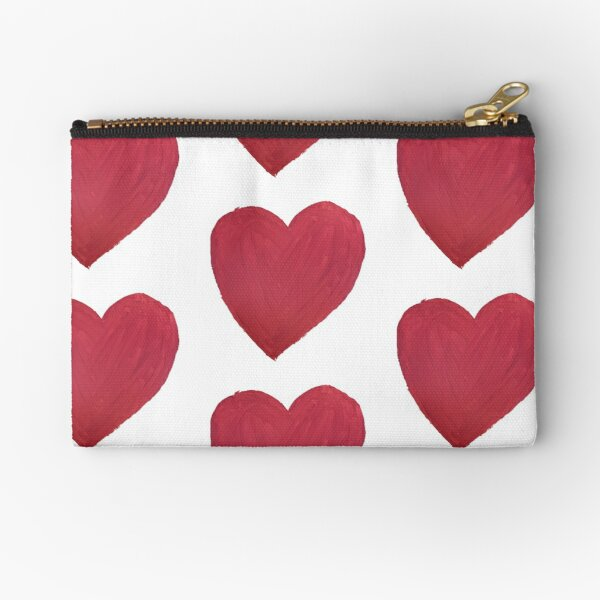 Hand Painted Red Valentine's Day Heart Zipper Pouch