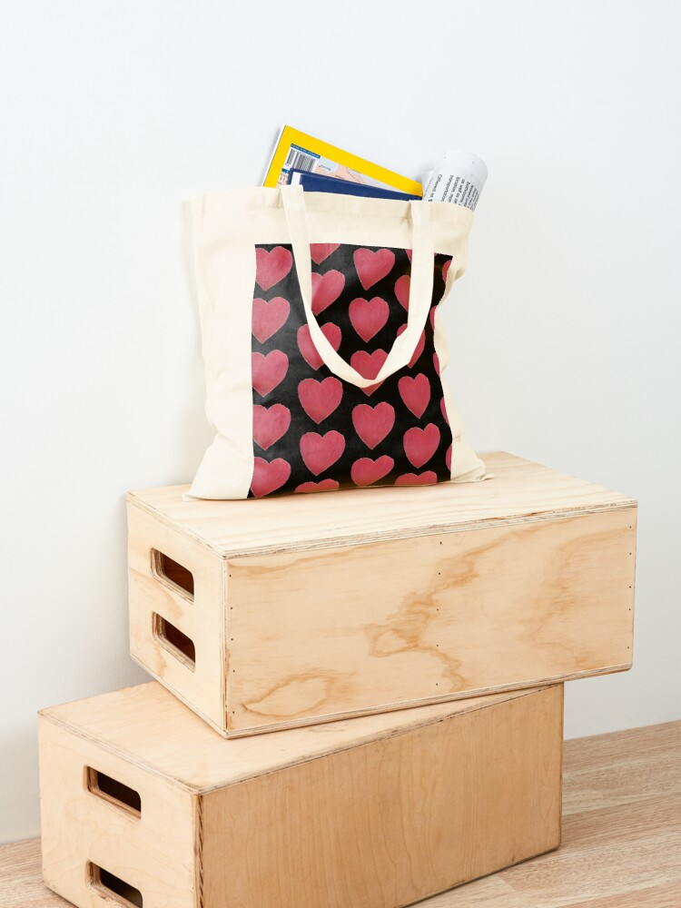 Alternate view of Hand Painted Red Valentine's Day Heart Tote Bag