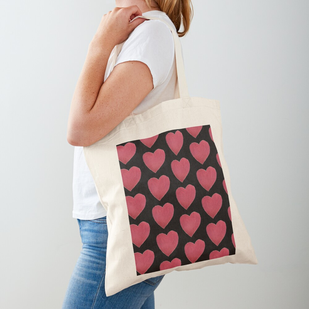Hand Painted Red Valentine's Day Heart Tote Bag