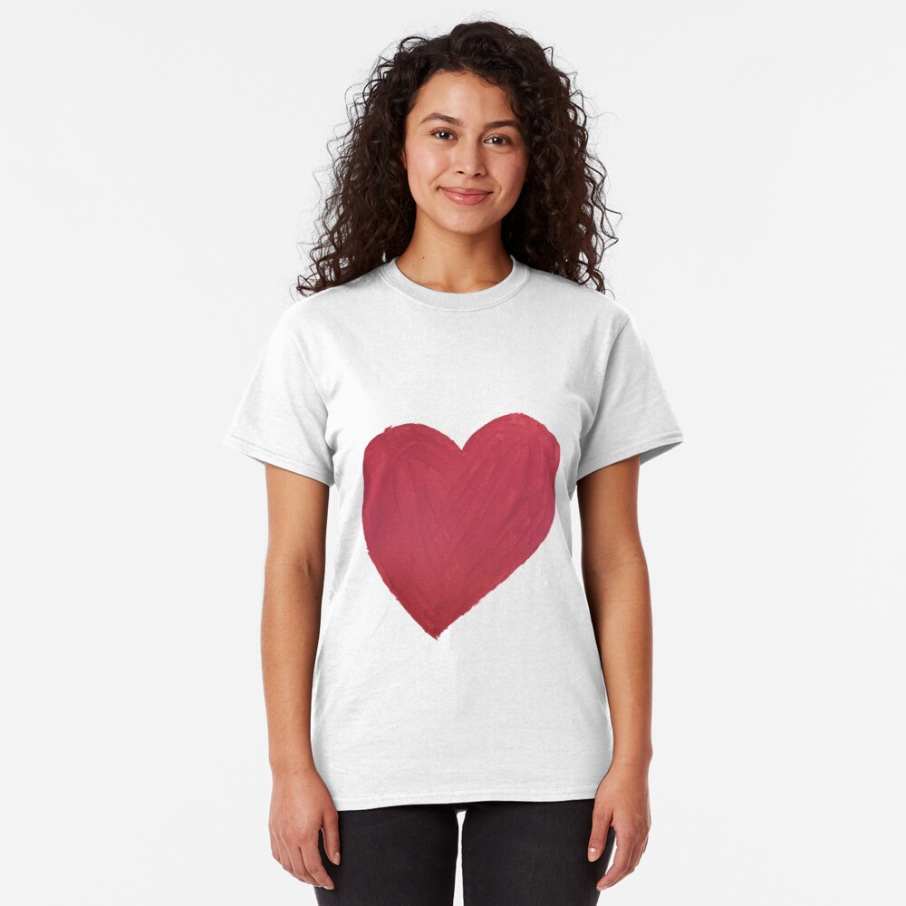 Hand Painted Red Valentine's Day Heart Classic T-Shirt