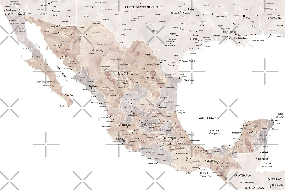 Detailed map of Mexico in neutral watercolor by blursbyai