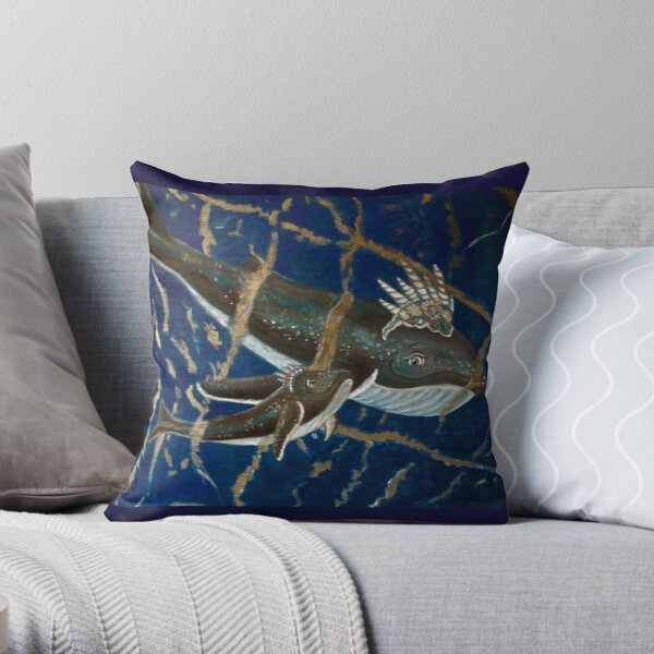 Mother Whale and her Baby in Lapis Lazuli Sea Throw Pillow