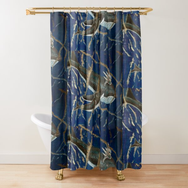 Mother Whale and her Baby in Lapis Lazuli Sea Shower Curtain