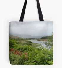 View up the river. Tote Bag